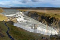 De waterval van Gullfoss, IJsland Royalty-vrije Stock Foto's