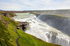 De waterval van Gullfoss in IJsland stock afbeelding