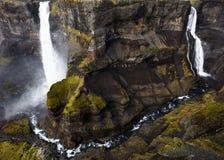 De waterval van Haifoss, IJsland Stock Afbeeldingen