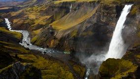 De waterval van Haifoss, IJsland Stock Foto's