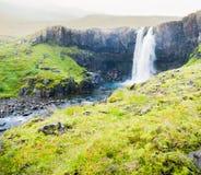 De waterval van IJsland en natuurlijk landschap Royalty-vrije Stock Fotografie
