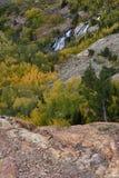 De waterval van de Lundycanion, Hoover-Wildernis, Siërra Nevada Range, Californië Stock Foto's