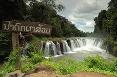 De waterval van Pha Souam van Tad, Paksa Zuid-Laos. Stock Foto