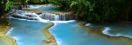 De Waterval van Si van Kuang, Luang prabang, Laos Stock Fotografie