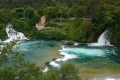 De Waterval van Skradinskibuk, het Nationale Park van Krka, Kroatië Stock Afbeelding