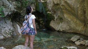 De waterval wordt gelet op door een jonge toerist stock videobeelden