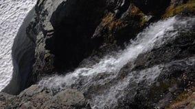 De watervalplonsen van de cascadesberg en het schuimen door rotsen het woeden stock footage