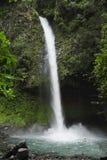 De watervalplonsen van La Fortuna neer in een populair zwemmend gat stock afbeelding