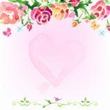 De waterverf bloeit achtergrond op de dag van rozen met binnen hart stock illustratie