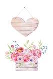 De waterverf bloeit houten doos Hand-drawn elegante uitstekende tuin ru stock illustratie