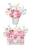 De waterverf bloeit houten doos Hand-drawn elegante uitstekende tuin ru Royalty-vrije Stock Foto's