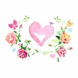 De waterverf bloeit, kroon van rozen met een hart in het centrum, royalty-vrije illustratie