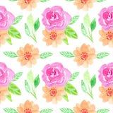 De waterverf bloeit naadloos kleurrijk patroon royalty-vrije stock foto's