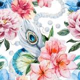 De waterverf bloeit patroon stock illustratie