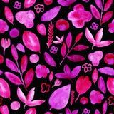 De waterverf bloeit roze patroon op zwarte stock illustratie