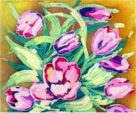 De waterverf bloeit roze tulp Kleine Illustratie op een beige achtergrond stock illustratie