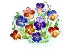 De waterverf bloeit viooltjes en viooltje en gaat weg Stock Afbeelding