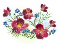 De waterverf bloeit viooltjes en viooltje en gaat op weide weg Royalty-vrije Stock Foto
