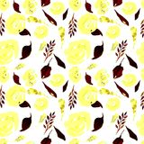 De waterverf Bloemen herhaalt Patroon Kan als Druk voor Stof, Achtergrond voor Huwelijksuitnodiging worden gebruikt Royalty-vrije Stock Fotografie