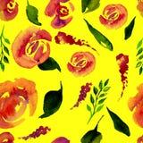 De waterverf Bloemen herhaalt Patroon Kan als Druk voor Stof, Achtergrond voor Huwelijksuitnodiging worden gebruikt stock illustratie