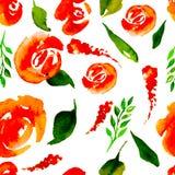 De waterverf Bloemen herhaalt Patroon Kan als Druk voor Stof, Achtergrond voor Huwelijksuitnodiging worden gebruikt Stock Afbeelding