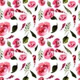 De waterverf Bloemen herhaalt Patroon Kan als Druk voor Stof, Achtergrond voor Huwelijksuitnodiging worden gebruikt Royalty-vrije Stock Foto's