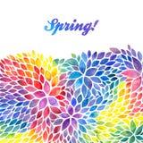 De waterverf geschilderde uitnodiging van regenboogkleuren Stock Fotografie