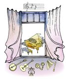 de waterverf retro piano van de venstermuziek stock illustratie