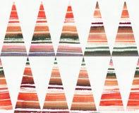 De waterverf schilderde gestreept, oranje en groen ploeter kleuren in driehoeken Stock Foto's