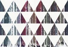 De waterverf schilderde gestreepte purper, blauw en cyaan ploeter kleuren in driehoeken, roosterillustratie Stock Afbeeldingen
