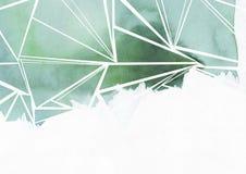 De waterverf schilderde groene driehoeken Stock Foto