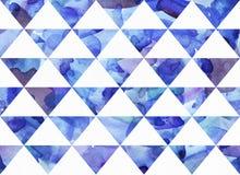 De waterverf schilderde naadloze textuur van blauwe driehoeken Stock Foto's