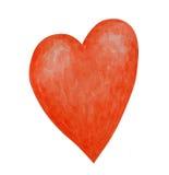De waterverf schilderde rood hart Stock Afbeelding