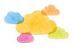 De waterverf schilderde Sociale Voorzien van een netwerkwolken Blauw Geelgroen Pi stock illustratie