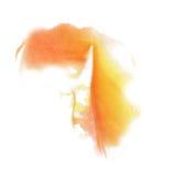 De waterverf van de de kleureninkt van de verfplons isoleert kalkslag ploetert rode gele watercolour aquarel borstel stock afbeelding