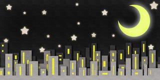 De waterverf van de de nachtscène van de stad op papier Royalty-vrije Stock Foto