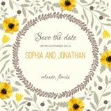 De waterverf van de huwelijksuitnodiging met bloemen Royalty-vrije Stock Afbeeldingen