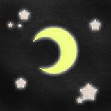 De waterverf van de maan en van de ster op balckdocument Stock Fotografie