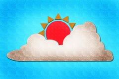 De waterverf van de zon en van de wolk op papier Stock Fotografie