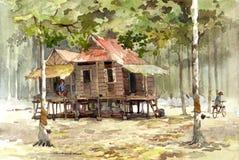 De waterverf van het dorp het schilderen Stock Afbeeldingen