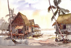De waterverf van het dorp het schilderen Royalty-vrije Stock Afbeeldingen