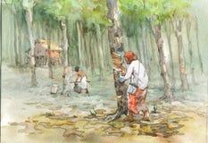 De waterverf van het dorp het schilderen Royalty-vrije Stock Fotografie