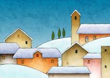 De waterverf van Kerstmis stock illustratie