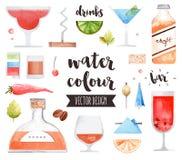 De Waterverf Vectorvoorwerpen van alcoholdranken Stock Afbeelding
