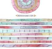 De waterverf verfraaide strepen, hand-drawn met borstel en inkt, naadloos, horizontaal, modieus, in krabbelstijl, die met gradiën Stock Foto