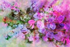 De waterverf verlaat de purpere achtergrond van het de kunstontwerp van de patroonillustratie uitstekende stijl stock fotografie