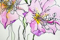 De waterverfbloem kleurt lilly textuur de groene bladwit geïsoleerde achtergrondacrylicsverf trekt stock illustratie