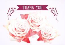 De waterverfbloemen danken u kaarden, overhandigen Getrokken Illustratie Stock Afbeeldingen