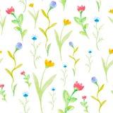De waterverfbloemen springen naadloos patroon op Royalty-vrije Stock Afbeelding