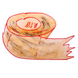 De waterverfdocument van tekeningskinderen, toiletbeeldverhaal Royalty-vrije Stock Fotografie